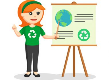 woman environmental activist giving presentation